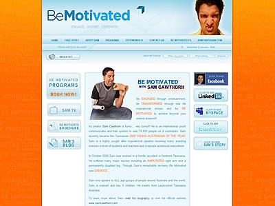 Screen capture of the BeMotivated.com.au website