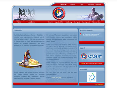 Thumbnail of the Surf Life Saving Northern Territory website